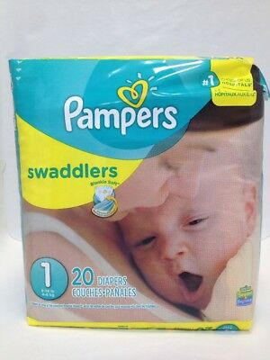 Pampers Size 1 Swaddler 20 Diapers (8-14 Pounds) Free Shipping !