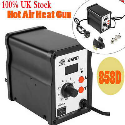 UK Soldering Iron SMD Rework Station Hot Air Gun with Nozzles Kits 220V DC Power