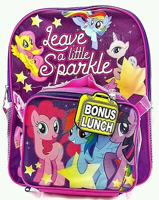 """My Little Pony 16"""" Large Backpack with Detachable Lunch Bag Pink NEW"""
