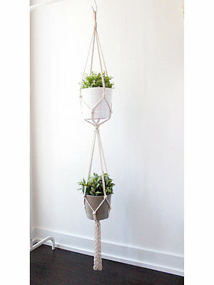 Double Macrame Plant Hanger - 58 inches