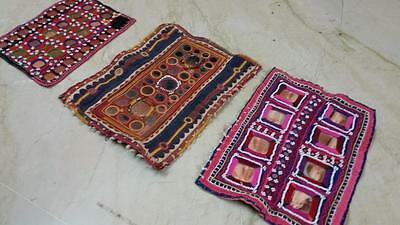 Antique Lot Of 3 Wholesale Banjara Miror Tribal Kuchi Belly Dance Emb Gala Patch