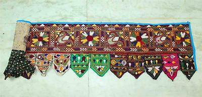 "ANTIQUE 15""x 83"" *SPECIAL* RABARI BANJARA KUCHI EMBROIDERY TORAN DOOR HANGING"
