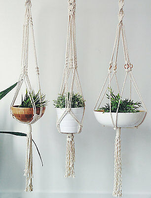 Set of 3 Cotton Macrame Plant Hangers
