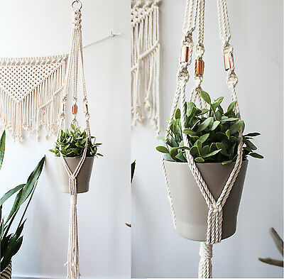 Cotton and Copper Macrame Plant Hanger - 31 inches
