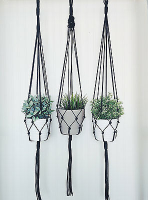 Set of 3 Black Macrame Plant Hanger - 45 inches