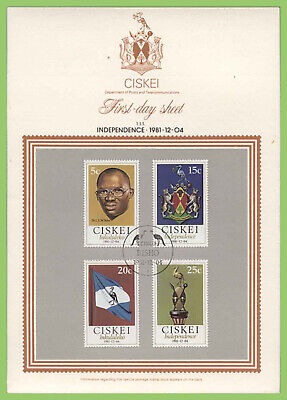 Ciskei 1981 Independence set on First Day Sheet