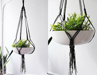 Black Macrame Plant Hanger - 45 Inches