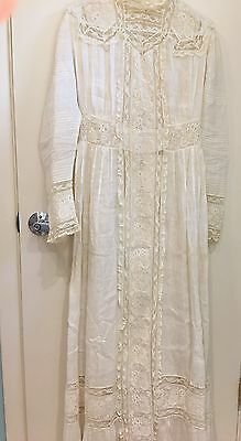 Women's vintage Edwardian lace dress white