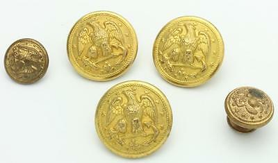 Lot of five (5) Vintage Antique Brass US Navy Button Left Facing Eagle
