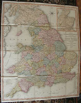 Antique Original Map Of England Wales & Scotland By William Faden In Color  1801