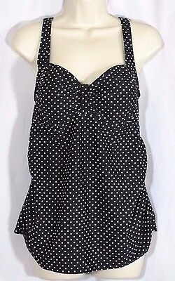 Beach Bump Motherhood Maternity Tankini Swimsuit Size L Large Ruched Sides Black