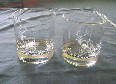 Set of 2 Imported Canadian Mist Low Ball Rocks Glasses - Etched Moose- 10 Ozs.