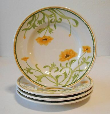 4 Franciscan Poppy Yellow Salad Plates 8""