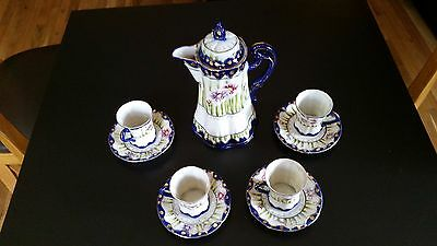 Antique Vintage Japanese CHOCOLATE tea coffee POT with four cups and saucers