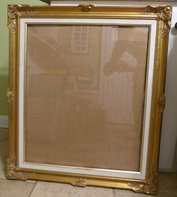 "Vintage Ornate Gold Gilt Wood Picture Art Mirror Frame 29.5"" x 25.5"" X 1.5""  #8"