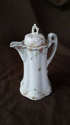Antique Vintage Nippon CHOCOLATE Tea Coffee POT hand-painted floral Greek key
