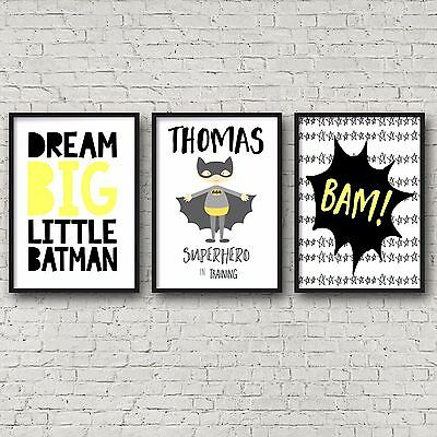 Nursery Bedroom Wall Art Decor Prints | Set of 3 | Batman | Superhero | A4 A3