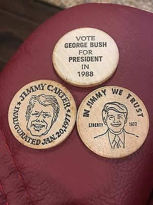 Vintage Wooden Nickel Lot President Jimmy Carter And George Bush For Pres