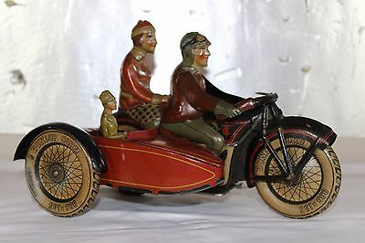 Antique Tin Litho Wind Up Toy 1927 TIPPCO SIDECAR MOTORCYCLE VERY SCARCE