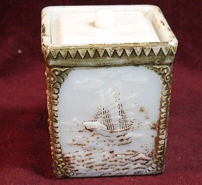 Antique Japanese Milk Glass Lidded Box with Gold Highlights