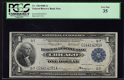 "Fr 728 1918 $1 FRBN Chicago PCGS 35 Very Fine (VF) ""Green Eagle"""