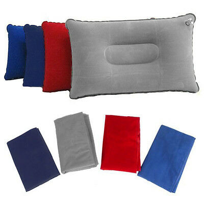 Portable Inflatable Travel Air Pillow Flight Flocked Cushion Beach Camping New