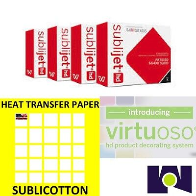 Sawgrass Virtuoso SG400/SG800 Ink Set CMYK Plus 100 sheets of SUBLICOTTON Combo