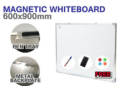 6x Magnetic WHITEBOARD Wall Mount 900mm x 600mm Quality Home Office White board