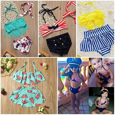 AU Baby Kids Girls Summer Beach Bathing Swimwear Swimsuit Swimming Dress Costume