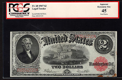 Fr 60 1917 $2 Legal Tender Note PCGS 45 Apparent Extremely Fine