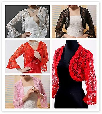 New 5 Colour Bridal Lace Bolero Jacket Shawl Wraps Cape Pashmina Wedding Dress