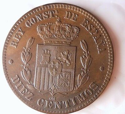 1878 Spain 10 Centimos - Au -  - Free Shipping - Hv38