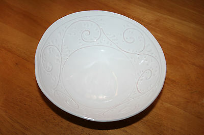 Umbriaverde Ceramiche Pottery Bowl with Raised Scrolls Made in Italy
