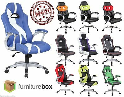LUXURY Leather SPORTS/RACING Padded Office Desk Swivel Gaming Computer Chair