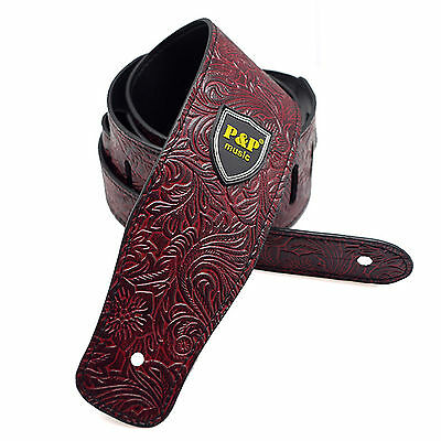 Pu Leather Guitar Strap Embossed for Acoustic Electric Bass Guitar