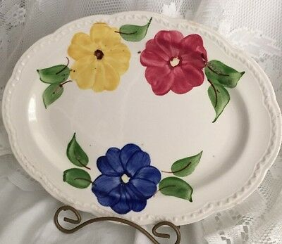 """Vintage Heritage Ware By Stetson Pottery Hand Painted Platter 11-1/4"""""""