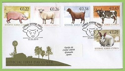 Cyprus 2010 Farm Animals set on First Day Cover