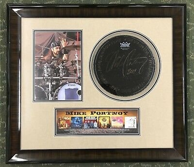 Mike Portnoy Signed Concert Used Drum Head adding Bands he Played With framed