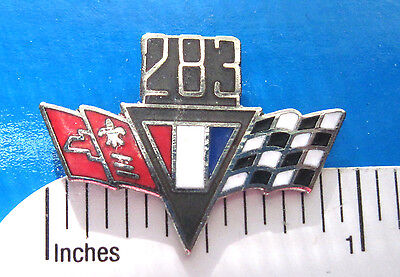 283 Chevy flags engine - hat pin , lapel pin , tie tac , hatpin GIFT BOXED (CL)