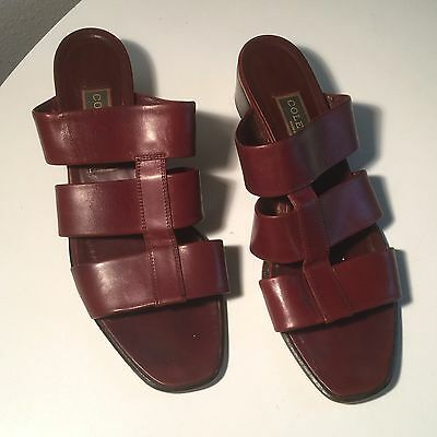 VTG 1990's Coach Whiskey Sandals Slides Mules 90s Leather Retro Shoes Womens 10