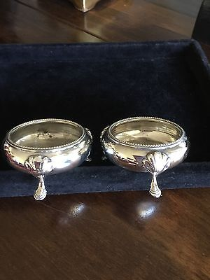 Antique Solid Silver Salts, Bowls, London 1875 By Martin & Hall.