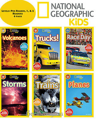 National Geographic Reader Level Pre,1-2 Race,Planes,Trucks,Storms,Volcanos 6Bks