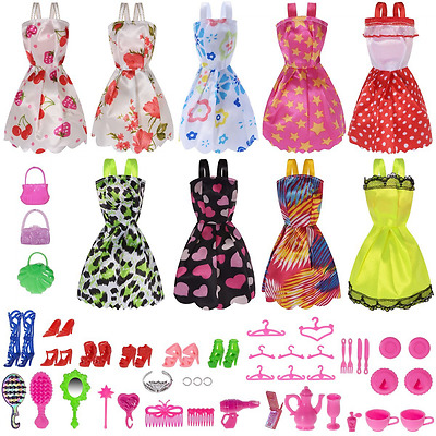 Barbie Doll Clothes & Accessories 50 PCS Perfect Gift For Girl's Birthday