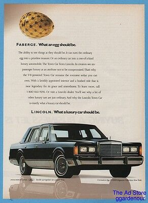 1988 Lincoln Town Car Photo Faberge Imperial Coronation Egg Advertisement Ad