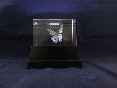 Solid Glass Crystal Laser Block and White Light Box - Butterfly.