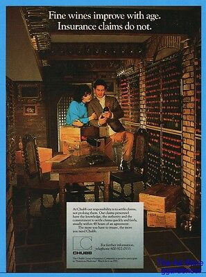 1986 Chubb Insurance Fine Wine Cellar Well Stocked Claims Photo Print Ad