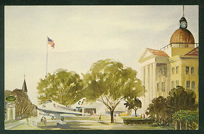 Bee County Courthouse Beeville Texas Painting Illustrated Postcard