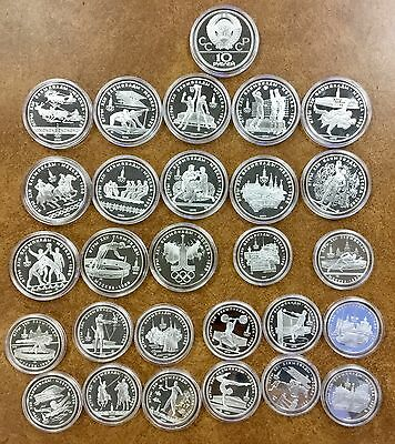 RUSSIA 1980 MOSCOW OLYMPICS Silver 28-Pc. Proof Coin Set--20.24 oz Pure Silver!!