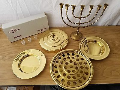 Communion Tray Set with disposable serving cups and Brass Menorah!!!!