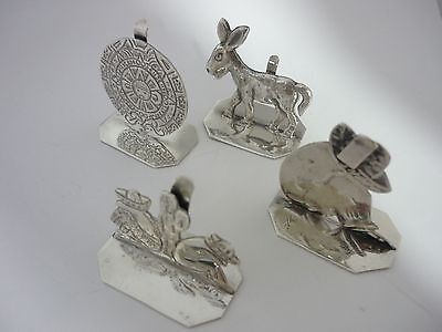 Set Of 4 Vintage Mexican Sterling Silver Place Card Holders By Sanborns